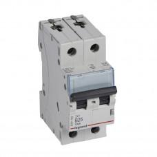 Выключатель автоматический двухполюсный TX3 6000 25А B 10кА   403876   Legrand