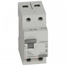 Выключатель дифференциальный (УЗО) RX3 2п 40А 100мА тип AC | 402029 | Legrand