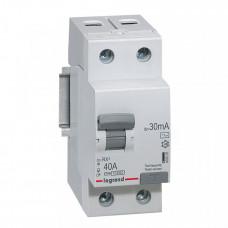 Выключатель дифференциальный (УЗО) RX3 2п 40А 30мА тип AC | 402025 | Legrand