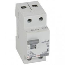 Выключатель дифференциальный (УЗО) RX3 2п 63А 30мА тип AC | 402026 | Legrand