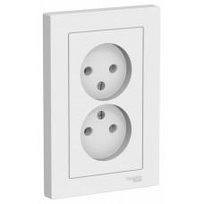 AtlasDesign Белый Розетка б/з двойная, 16А, (в сборе с рамкой) | ATN000120 | Schneider Electric