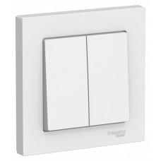 AtlasDesign Белый Выключатель 2-клавишный сх.5, 10АХ, (в сборе с рамкой) | ATN000152 | Schneider Electric