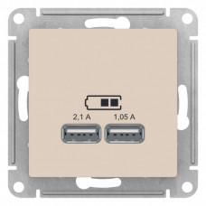AtlasDesign Бежевый Розетка USB, 5В, 1 порт x 2,1 А, 2 порта х 1,05 А, механизм | ATN000233 | Schneider Electric