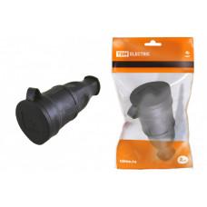 Розетка переносная с заглушкой каучук 2Р+РЕ 16А 250В IP44 | SQ0612-0002 | TDM