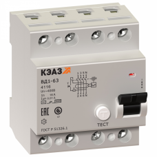 Выключатель дифференциальный (УЗО) ВД1-63-4225-АС-УХЛ4 4п 25А 30мА тип AC | 221947 | КЭАЗ
