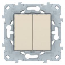 Unica New Бежевый Выключатель 2-клавишный, сх. 5, 10 AX, 250В, | NU521144 | Schneider Electric