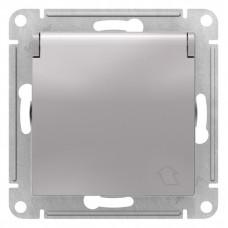 AtlasDesign Алюминий Розетка с/з, со шторками, с крышкой, 16А, (в сборе с рамкой) | ATN000346 | Schneider Electric