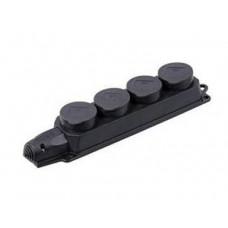 РБ34-1-0м Розетка (колодка) четырехместная с защитными крышками ОМЕГА | PKR64-016-2-K02 | IEK