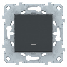 Unica New Антрацит Переключатель 1-клавишный, перекрестный, с подсветкой, сх.7а | NU520554N | Schneider Electric