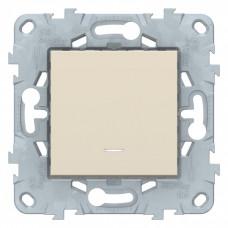 Unica New Бежевый Переключатель 1-клавишный, перекрестный, с подсветкой, сх. 7а | NU520544N | Schneider Electric