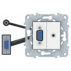 Unica New Белый Розетка HD15+Minijack   NU593218   Schneider Electric