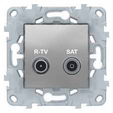 Unica New Алюминий Розетка R-TV/SAT, проходная | NU545630 | Schneider Electric