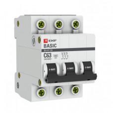 Выключатель автоматический трехполюсный ВА 47-29 6А C 4,5кА Basic | mcb4729-3-06C | EKF