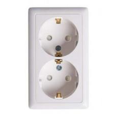 ХИТ О/У без изол. пласт. Белый Розетка двойная с заземлением со шторками, 16А | RA16-239-B | Schneider Electric