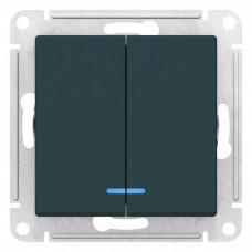 AtlasDesign Изумруд Выключатель 2-клавишный с подсветкой, сх.5а, 10АХ, механизм | ATN000853 | Schneider Electric