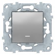 Unica New Алюминий Выключатель 1-клавишный, с подсветкой, сх. 1а | NU520130N | Schneider Electric