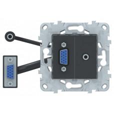 Unica New Антрацит Розетка HD15+Minijack | NU593254 | Schneider Electric