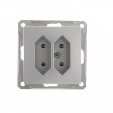 Wessen 59 Матовый хром Розетка 2-ая б/з для узких вилок 6А | RS6-253-5-86 | Schneider Electric