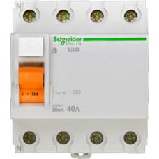 Выключатель дифференциальный (УЗО) ВД63 4п 40А 30мА тип AC | 11463 | Schneider Electric