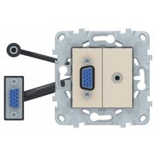 Unica New Бежевый Розетка HD15+Minijack | NU593244 | Schneider Electric