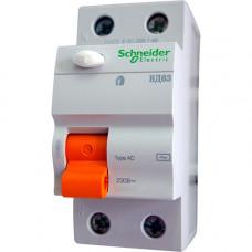Выключатель дифференциальный (УЗО) ВД63 2п 40А 300мА тип AC | 11453 | Schneider Electric