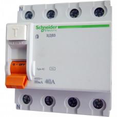 Выключатель дифференциальный (УЗО) ВД63 4п 40А 300мА тип AC | 11465 | Schneider Electric