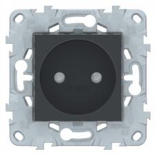 Unica New Антрацит Розетка б/з со шторками, винт. зажим, 16 А | NU503354 | Schneider Electric