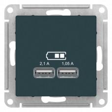AtlasDesign Изумруд Розетка USB, 5В, 1 порт x 2,1 А, 2 порта х 1,05 А, механизм | ATN000833 | Schneider Electric