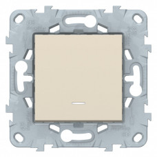 Unica New Бежевый Выключатель 1-клавишный, с подсветкой, сх. 1а | NU520144N | Schneider Electric