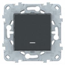 Unica New Антрацит Выключатель 1-клавишный, с подсветкой, сх. 1а | NU520154N | Schneider Electric