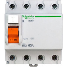 Выключатель дифференциальный (УЗО) ВД63 4п 63А 100мА тип AC | 11467 | Schneider Electric