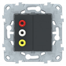 Unica New Антрацит Розетка 3 RCA | NU543154 | Schneider Electric