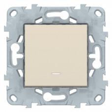 Unica New Бежевый Переключатель 1-клавишный, с подсветкой, сх. 6а | NU520344N | Schneider Electric