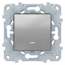 Unica New Алюминий Переключатель 1-клавишный, с подсветкой, сх. 6а | NU520330N | Schneider Electric