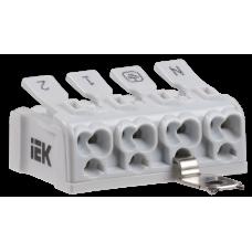 Клемма пружинная соединительная КСПз4-2L+N+PE | UKZ-B06-4P-F0-E1-10 | IEK