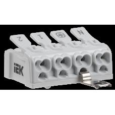Клемма пружинная соединительная КСПнз4-2L+N+PE | UKZ-B06-4P-F1-E1-10 | IEK