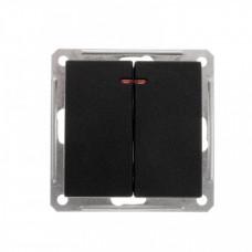 Wessen 59 Черный бархат Выключатель 2-клавишный с подсветкой 16А (сх.5) | VS516-251-6-86 | Schneider Electric