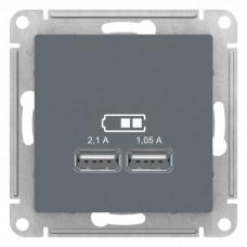 AtlasDesign Грифель Розетка USB, 5В, 1 порт x 2,1 А, 2 порта х 1,05 А, механизм   ATN000733   Schneider Electric