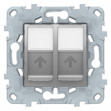 Unica New Алюминий Розетка компьютерная, RJ45, двойная, кат. 6 UTP | NU542430 | Schneider Electric