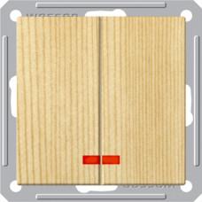 Wessen 59 Сосна Выключатель 2-клавишный с подсветкой 16А (сх.5) | VS516-251-7-86 | Schneider Electric