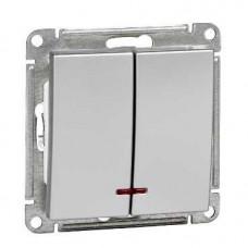 Wessen 59 Матовый хром Выключатель 2-клавишный 10АХ с подсветкой | VS510-251-5-86 | Schneider Electric