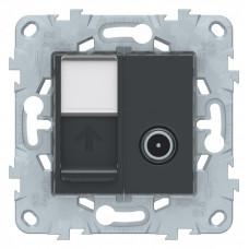 Unica New Антрацит Розетка TV одиночная + комп. RJ45 кат.6 UTP, 1 мод. | NU547054 | Schneider Electric