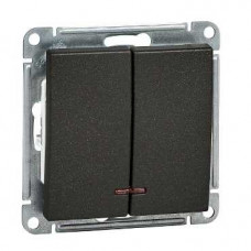 Wessen 59 Черный бархат Выключатель2-клавишный, с подсветкой 10АХ | VS510-251-6-86 | Schneider Electric