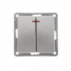 Wessen 59 Матовый хром Выключатель 2-клавишный с подсветкой 16А (сх.5) | VS516-251-5-86 | Schneider Electric