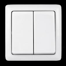 ХИТ О/У с изол. пласт. Белый Выключатель 2-клавишный 6А, 250В | VA56-232I-B | Schneider Electric