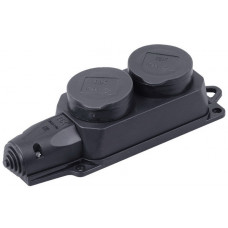 РБ32-1-0м Розетка (колодка) двухместная с защитными крышками ОМЕГА IP44 | PKR62-016-2-K02 | IEK