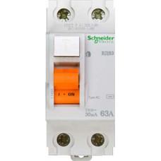 Выключатель дифференциальный (УЗО) ВД63 2п 63А 30мА тип AC | 11455 | Schneider Electric