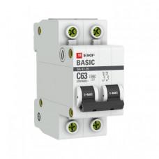 Выключатель автоматический двухполюсный ВА 47-29 50А C 4,5кА Basic | mcb4729-2-50C | EKF