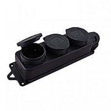 Розетка трехместная с защит. крышками каучуковая 230В 2P+PE 16A IP44 EKF PROxima | RPS-015-16-230-44 | EKF