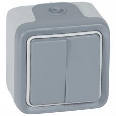 Plexo Серый Переключатель 2-клавишный наружный монтаж 10А (в сборе) IP55   069715   Legrand